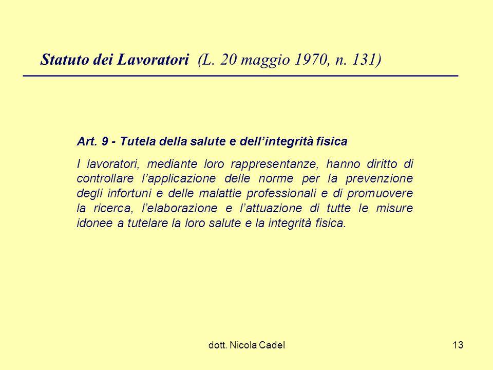 Statuto dei Lavoratori (L. 20 maggio 1970, n. 131)