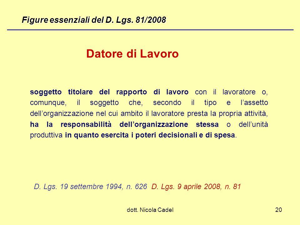 Datore di Lavoro Figure essenziali del D. Lgs. 81/2008