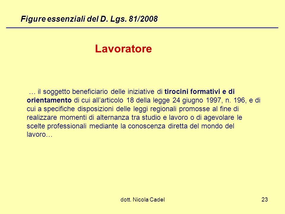 Lavoratore Figure essenziali del D. Lgs. 81/2008