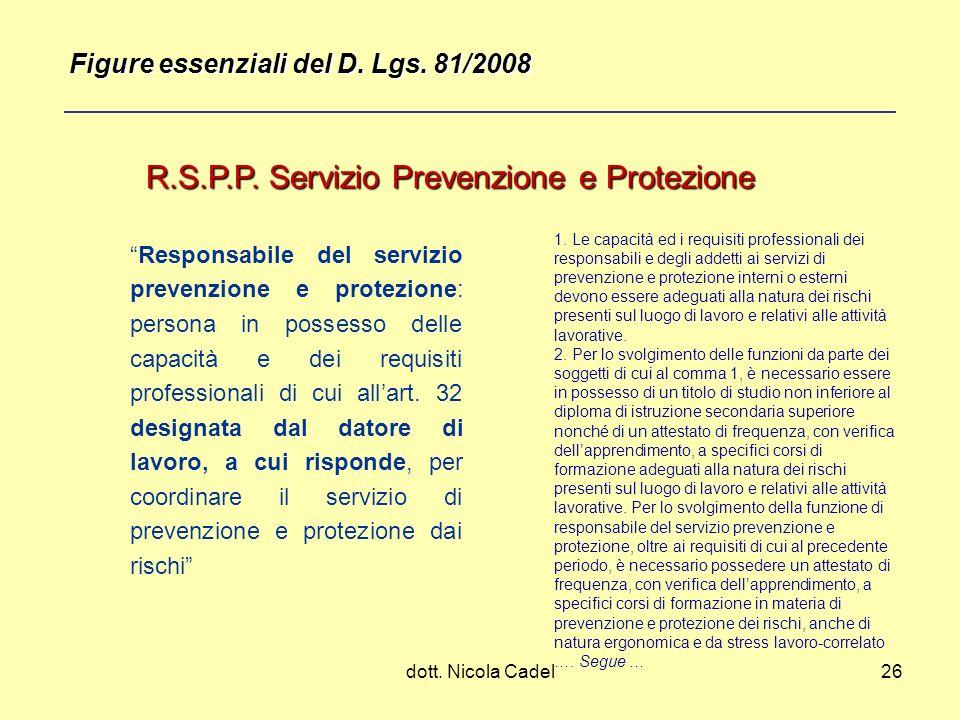 R.S.P.P. Servizio Prevenzione e Protezione