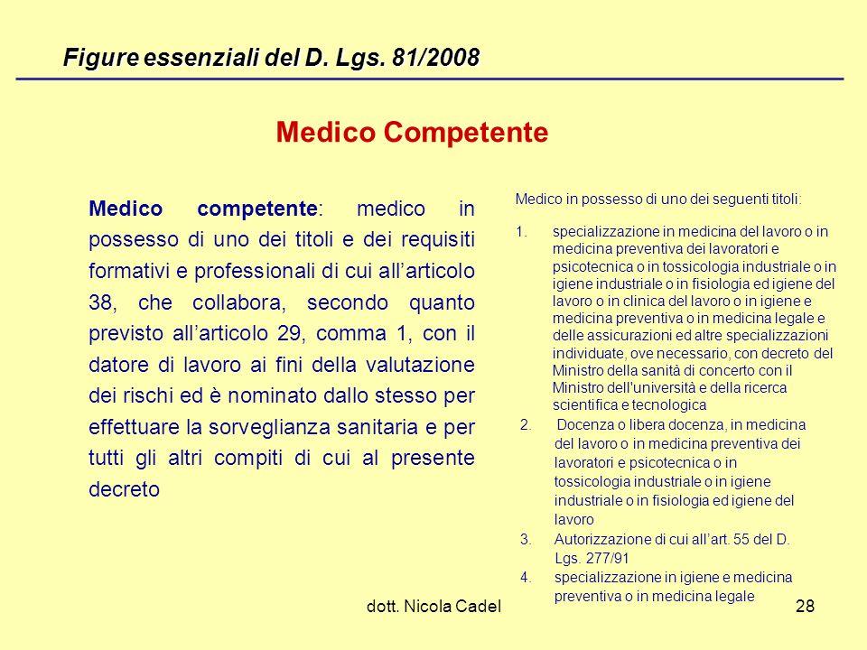Medico Competente Figure essenziali del D. Lgs. 81/2008