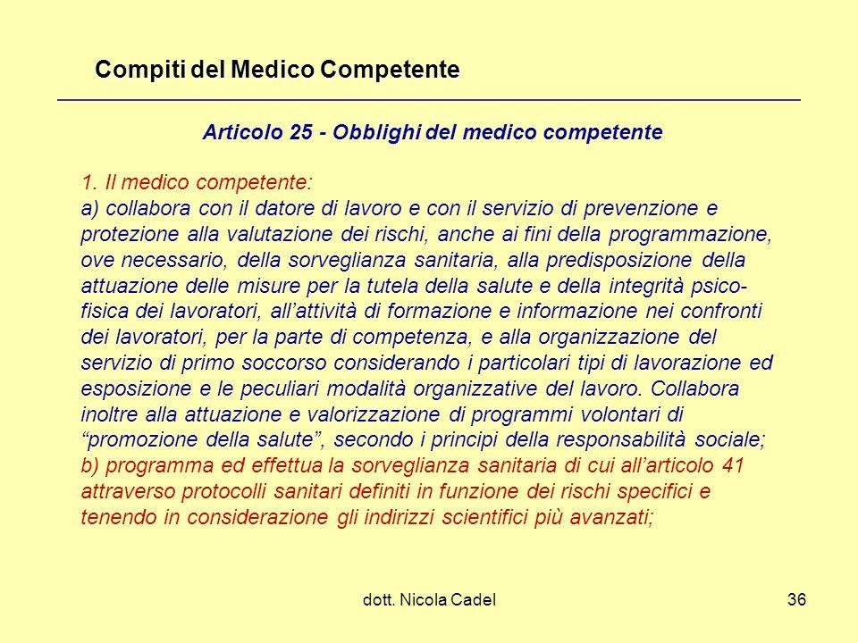 Compiti del Medico Competente