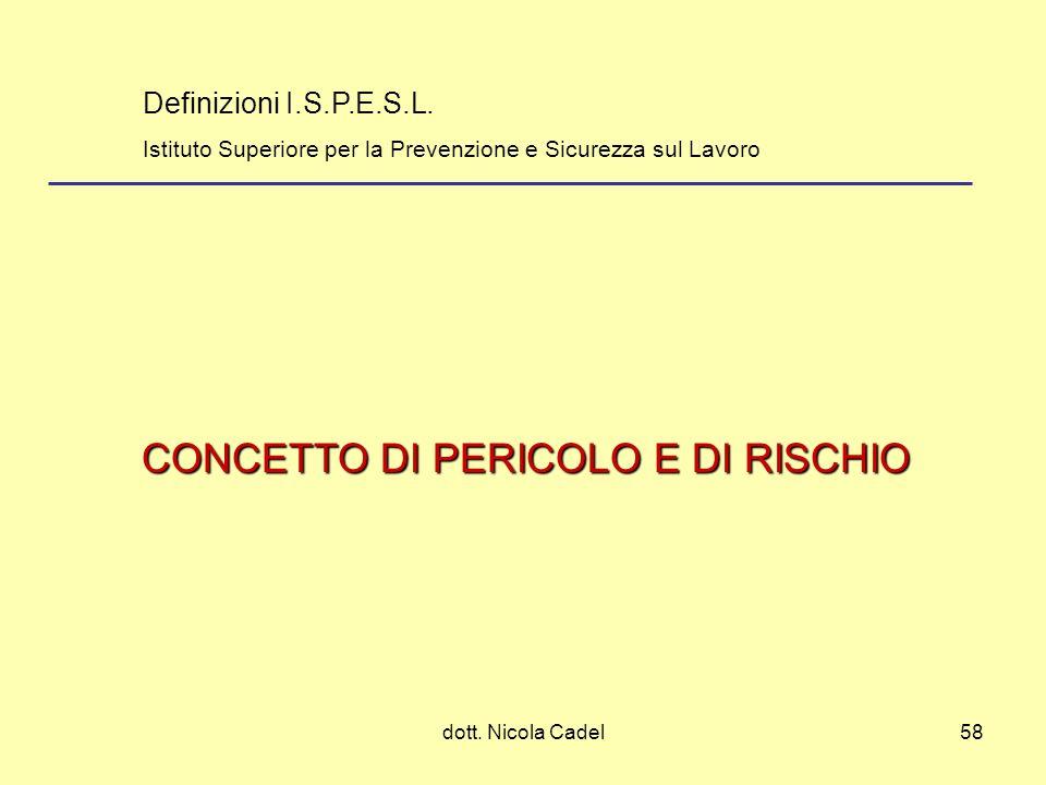CONCETTO DI PERICOLO E DI RISCHIO