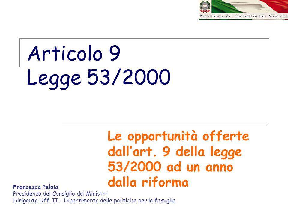 Articolo 9 Legge 53/2000 Le opportunità offerte dall'art. 9 della legge 53/2000 ad un anno dalla riforma.