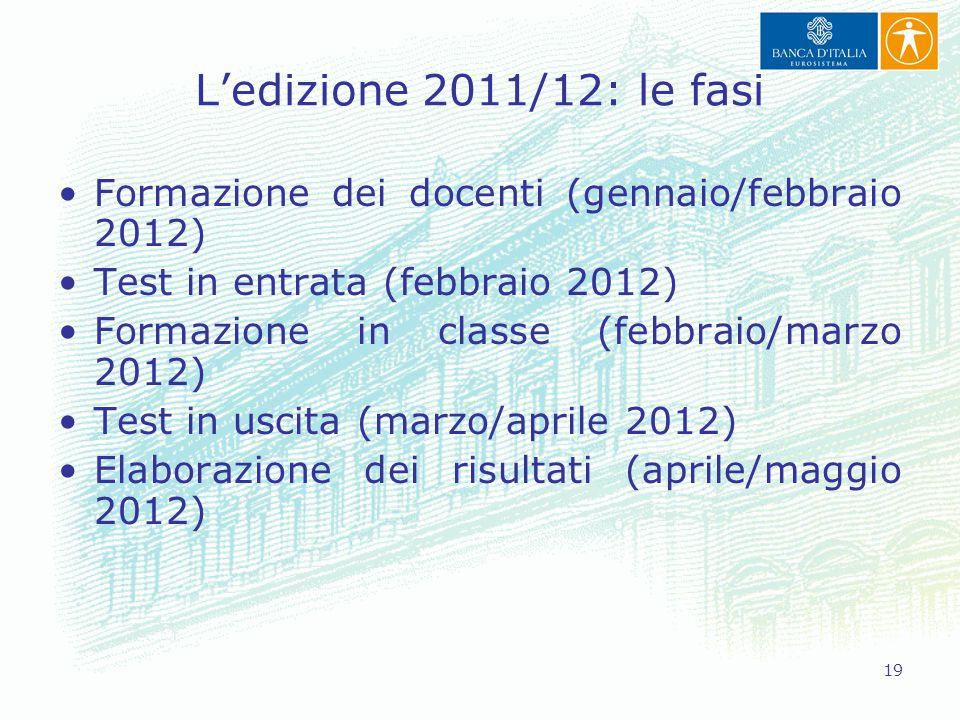 L'edizione 2011/12: le fasi Formazione dei docenti (gennaio/febbraio 2012) Test in entrata (febbraio 2012)