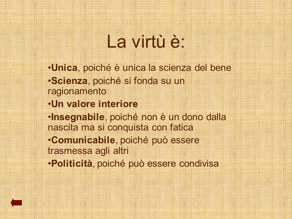 La virtù è: Unica, poiché è unica la scienza del bene
