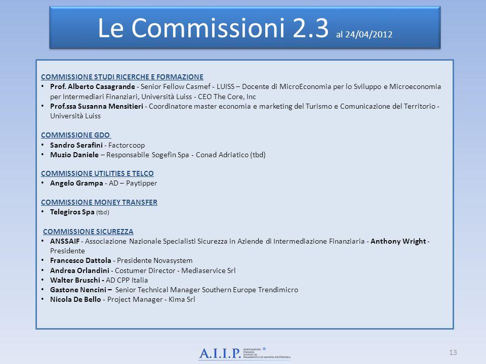 Le Commissioni 2.3 al 24/04/2012 COMMISSIONE STUDI RICERCHE E FORMAZIONE.