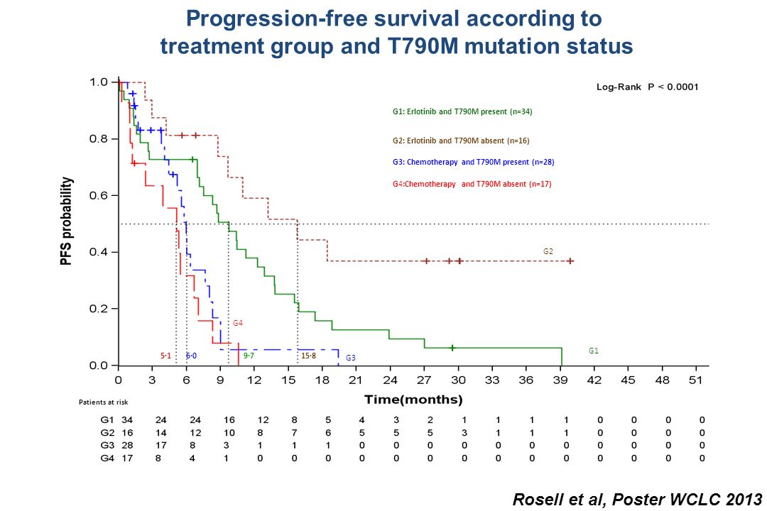 Progression-free survival according to