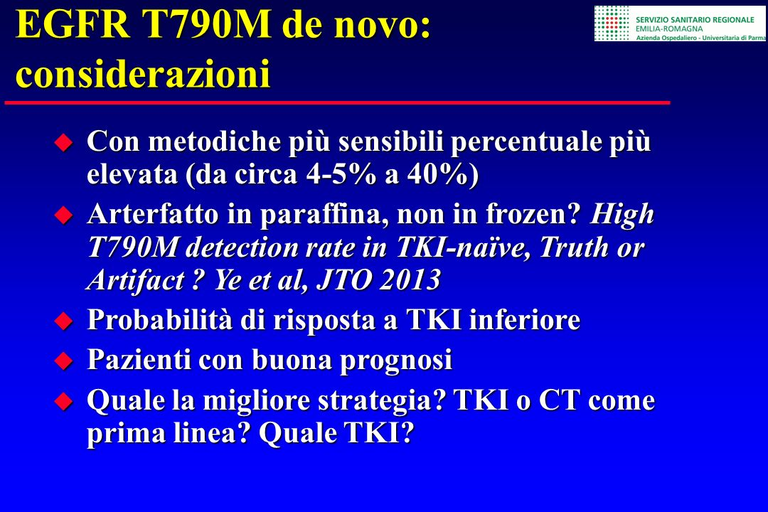 EGFR T790M de novo: considerazioni