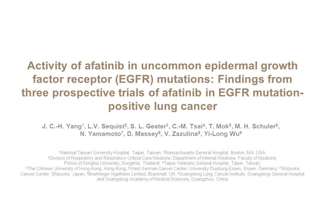 Activity of afatinib in uncommon epidermal growth factor receptor (EGFR) mutations: Findings from three prospective trials of afatinib in EGFR mutation-positive lung cancer