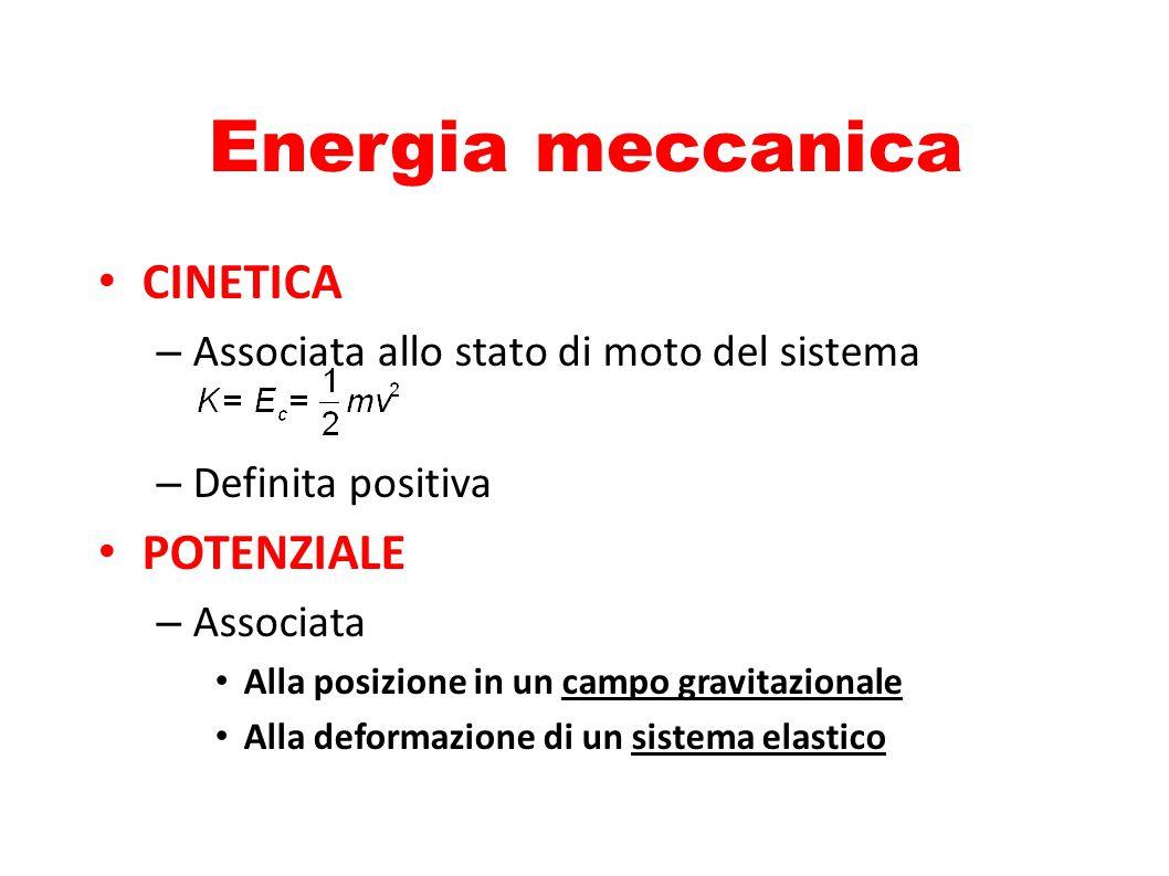Energia meccanica CINETICA POTENZIALE