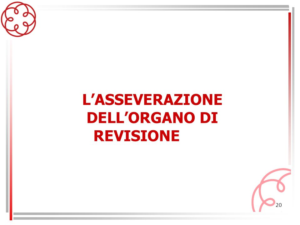 L'ASSEVERAZIONE DELL'ORGANO DI REVISIONE
