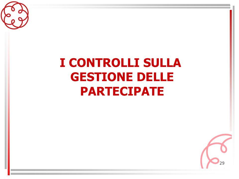 I CONTROLLI SULLA GESTIONE DELLE PARTECIPATE
