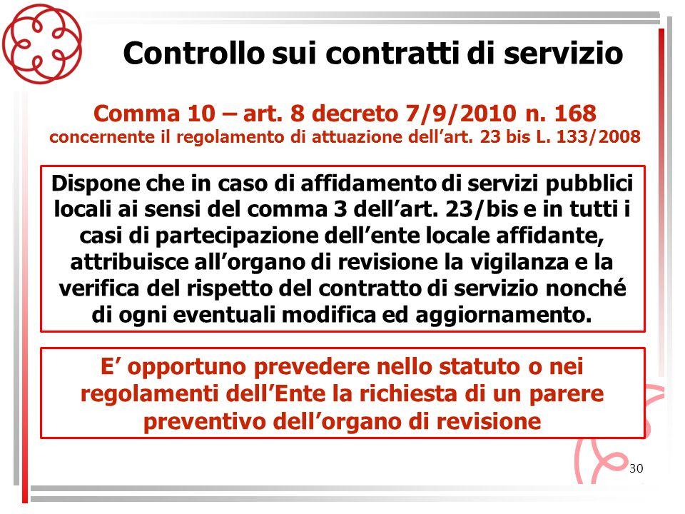 concernente il regolamento di attuazione dell'art. 23 bis L. 133/2008