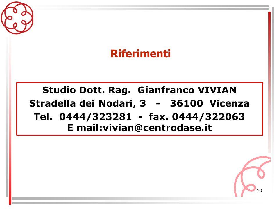 Riferimenti Studio Dott. Rag. Gianfranco VIVIAN