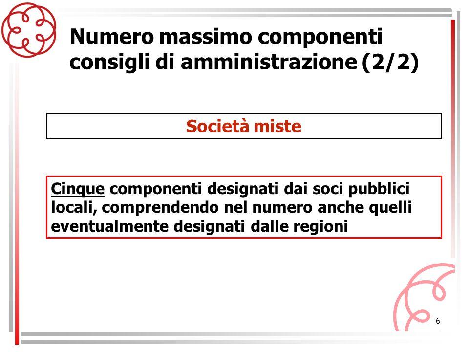 Numero massimo componenti consigli di amministrazione (2/2)