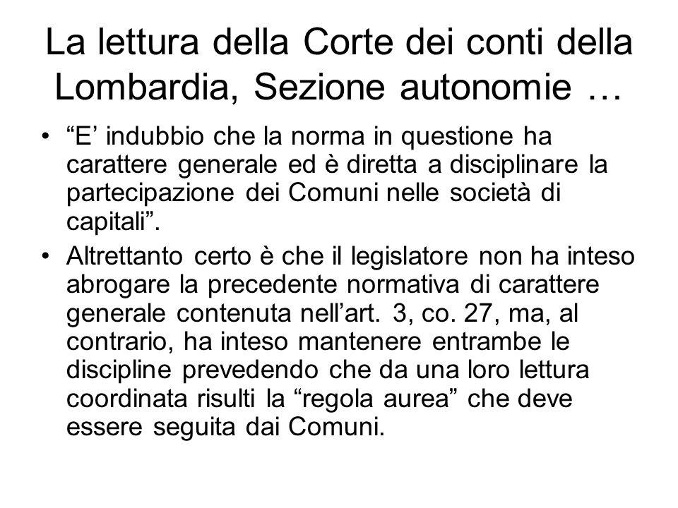 La lettura della Corte dei conti della Lombardia, Sezione autonomie …