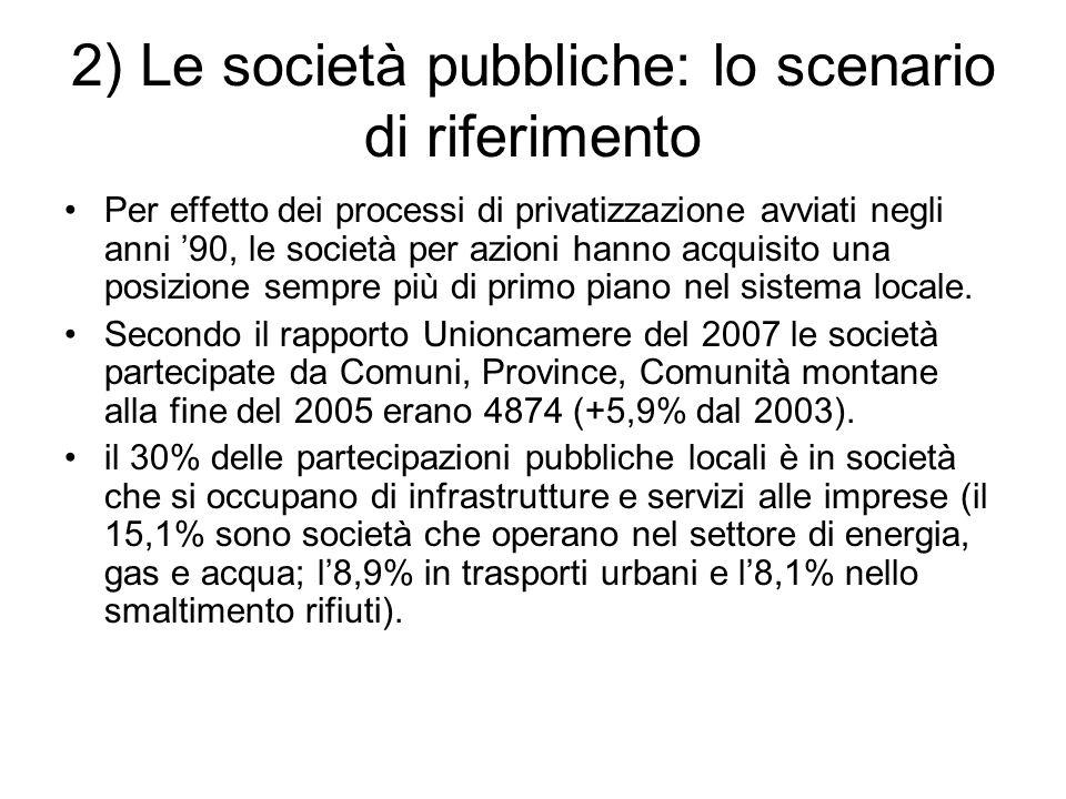 2) Le società pubbliche: lo scenario di riferimento