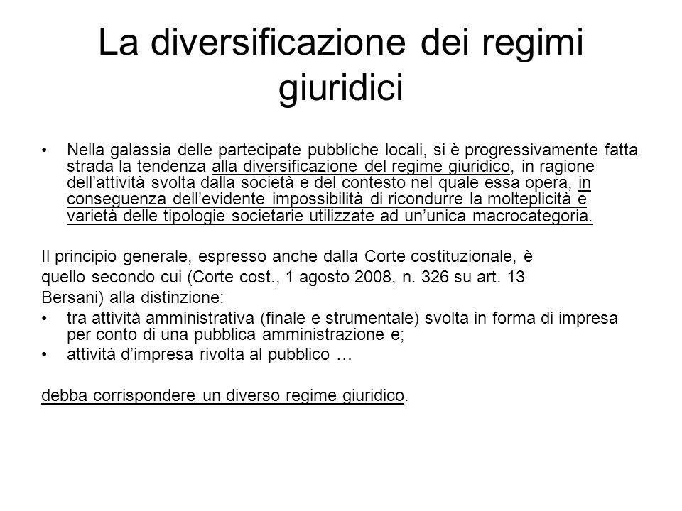 La diversificazione dei regimi giuridici