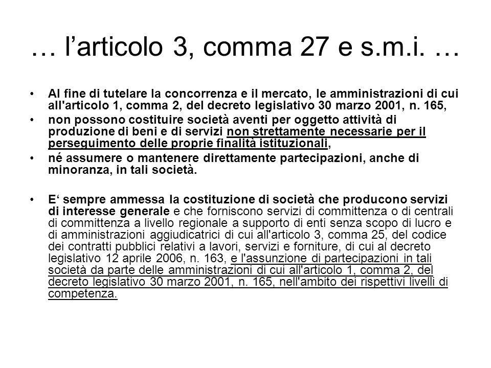 … l'articolo 3, comma 27 e s.m.i. …