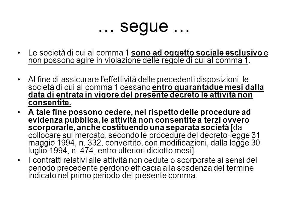 … segue … Le società di cui al comma 1 sono ad oggetto sociale esclusivo e non possono agire in violazione delle regole di cui al comma 1.