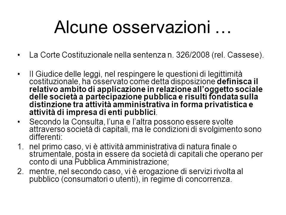 Alcune osservazioni … La Corte Costituzionale nella sentenza n. 326/2008 (rel. Cassese).