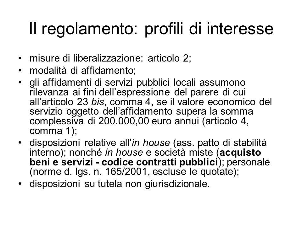 Il regolamento: profili di interesse