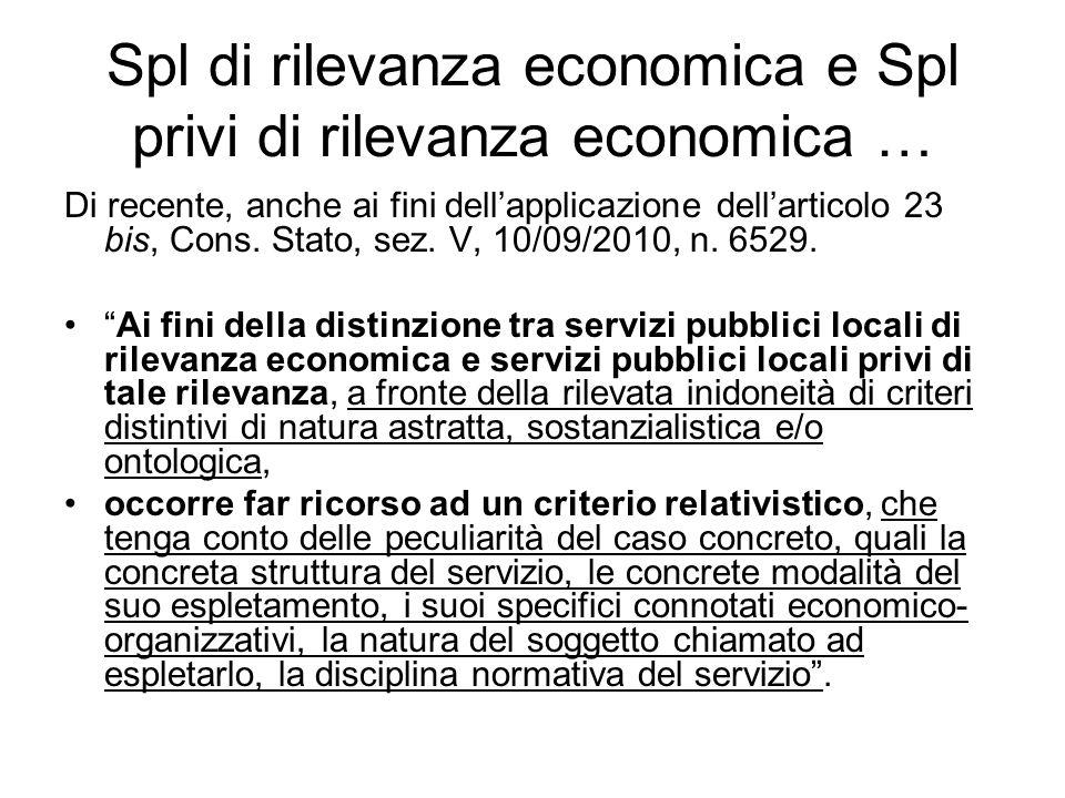 Spl di rilevanza economica e Spl privi di rilevanza economica …