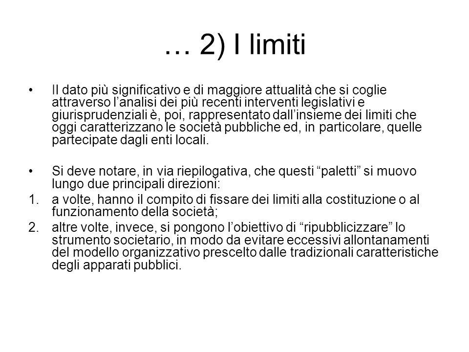 … 2) I limiti