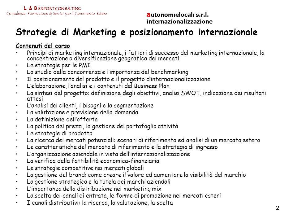 Strategie di Marketing e posizionamento internazionale