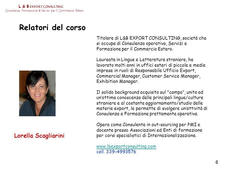 Relatori del corso Lorella Scagliarini