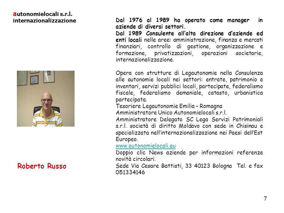 Roberto Russo autonomielocali s.r.l. internazionalizzazione