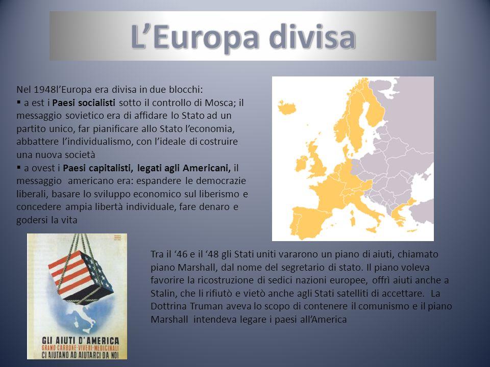 L'Europa divisa Nel 1948l'Europa era divisa in due blocchi: