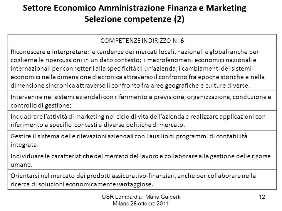 Settore Economico Amministrazione Finanza e Marketing Selezione competenze (2)