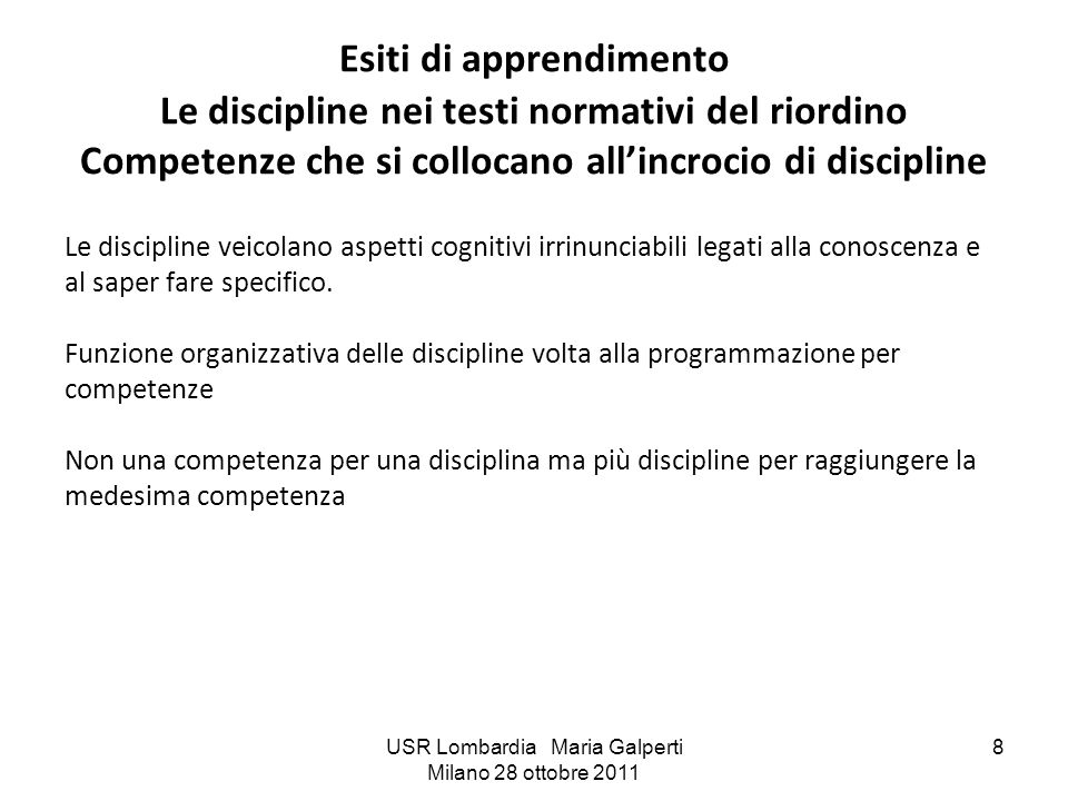 USR Lombardia Maria Galperti Milano 28 ottobre 2011