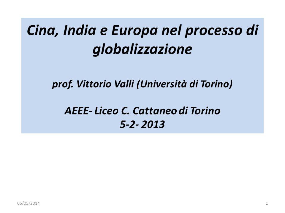 Cina, India e Europa nel processo di globalizzazione prof