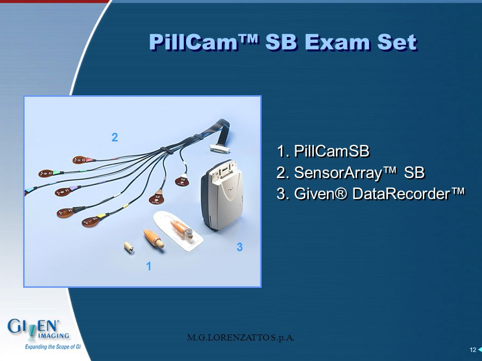 PillCam™ SB Exam Set 1. PillCamSB 2. SensorArray™ SB