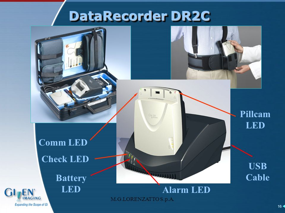 DataRecorder DR2C Pillcam LED Comm LED Check LED USB Cable Battery LED