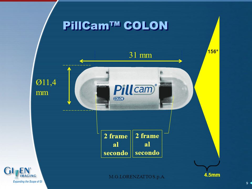 PillCam™ COLON 31 mm Ø11,4 mm 2 frame al secondo 2 frame al secondo