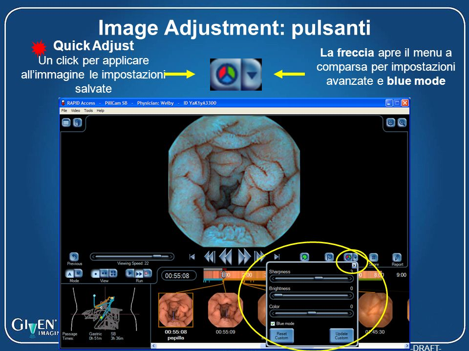 Image Adjustment: pulsanti