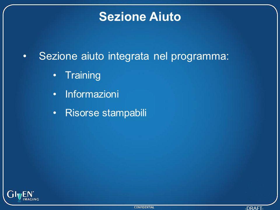 Sezione Aiuto Sezione aiuto integrata nel programma: Training