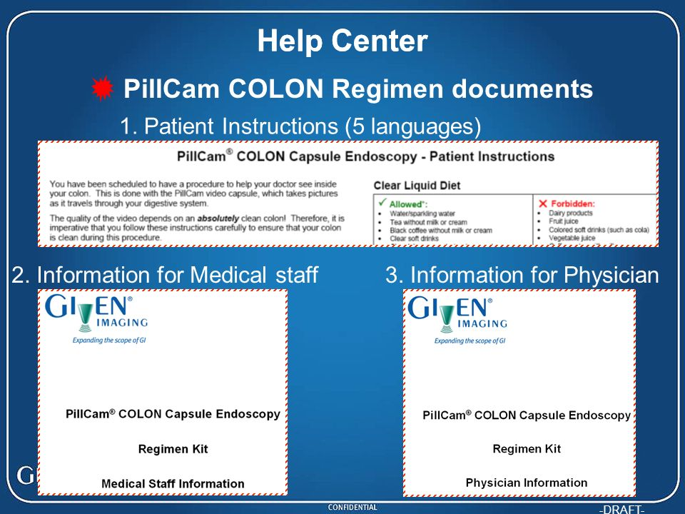 PillCam COLON Regimen documents