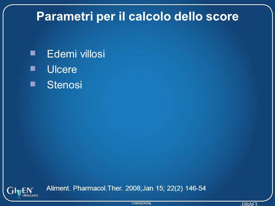 Parametri per il calcolo dello score