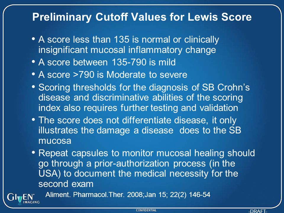 Preliminary Cutoff Values for Lewis Score