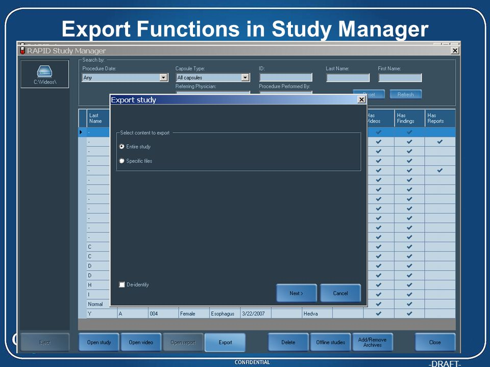 Export Functions in Study Manager