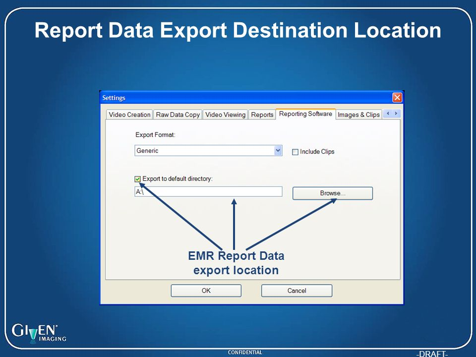 Report Data Export Destination Location