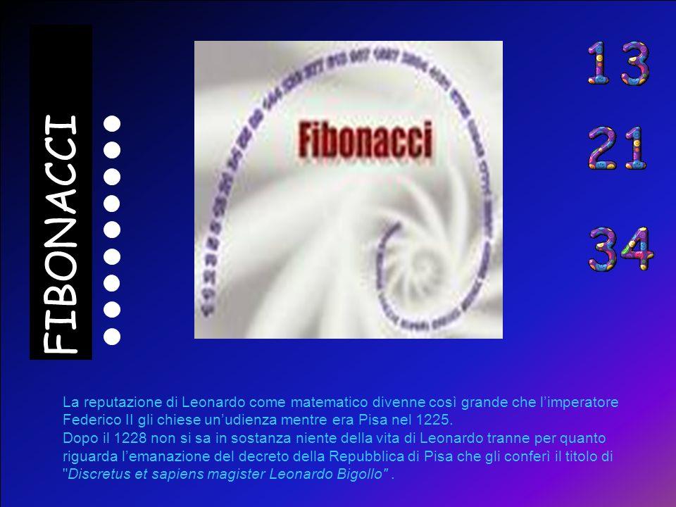 FIBONACCI La reputazione di Leonardo come matematico divenne così grande che l'imperatore Federico II gli chiese un'udienza mentre era Pisa nel 1225.