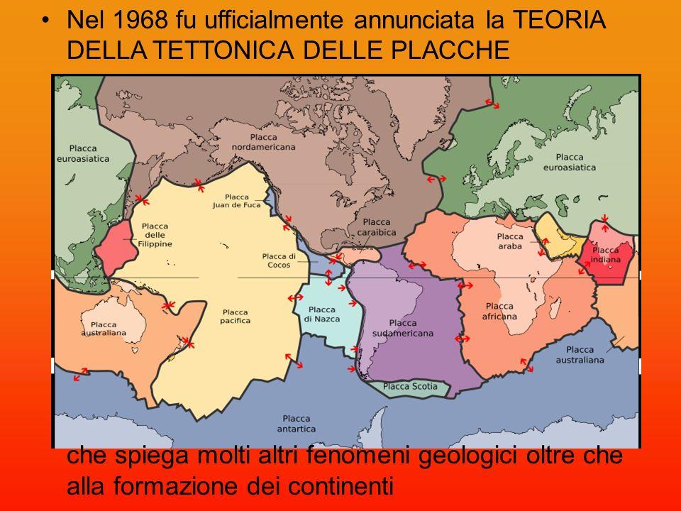 Nel 1968 fu ufficialmente annunciata la TEORIA DELLA TETTONICA DELLE PLACCHE