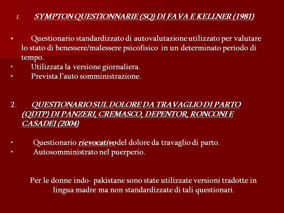 SYMPTON QUESTIONNARIE (SQ) DI FAVA E KELLNER (1981)