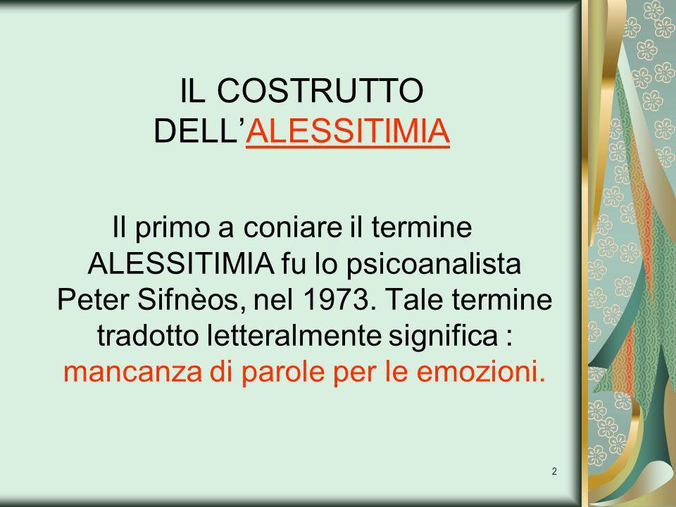 IL COSTRUTTO DELL'ALESSITIMIA